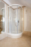 Shower. In a beige bathroom, vertical view Royalty Free Stock Photos