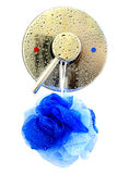 Shower. Isolation of a shower temperature control valve and hanging bath puff over a white background Stock Photos