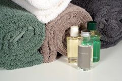Shower Amenities. This is an image of shower amenities with rolled bath towels royalty free stock images