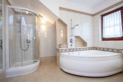 Shower and bath. Shower and big bath in beige bathroom interior Royalty Free Stock Photography