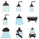 Shower And Bath Vector Icon Set Stock Photo