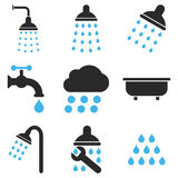 Shower And Bath Vector Icon Set Stock Photos