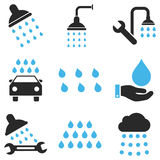 Shower And Bath Vector Icon Set Royalty Free Stock Images