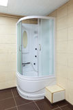 Shower cabin. Modern white corner shower cabin, closeup stock photo