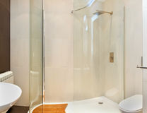 Shower cabin. Modern bathroom interior with glass shower cabin royalty free stock images