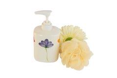 Shower cream with wisp Stock Photos