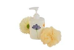 Shower cream with wisp Stock Image