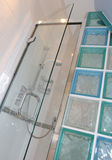 Shower Cubicle. Modern tiled shower cubicle with glass block wall Royalty Free Stock Image