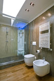 Shower cubicle with glass partition Stock Image