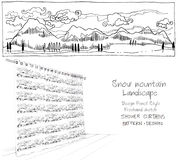 Shower curtain snow mountain landscape Royalty Free Stock Images