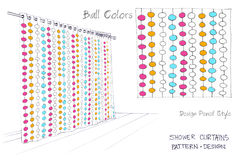 Shower curtains Ball colors. One color pencil sketch freehand is three colors pattern design art work for screen print idea of your decorate product and Stock Images