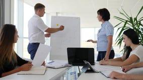 Shower för kontorsarbetare av diagrammet på Whiteboard i ljust rum av affärsmitten lager videofilmer