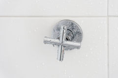 Shower faucet in bathroom Stock Image