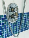 Shower faucet modern bathroom closeup. Shower faucet modern bathroom close up Royalty Free Stock Photo