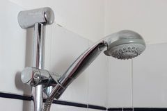 Shower faucet. With residual limestone closeup Royalty Free Stock Image