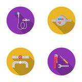 Shower, faucet, water meter and other equipment.Plumbing set collection icons in flat style vector symbol stock Stock Image