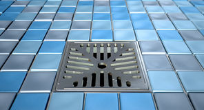 Shower Floor Drain And Mosaics Stock Photos