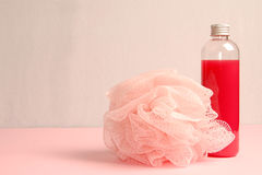 Shower gel and bath sponge Stock Photography