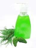Shower gel bottle with fir extract Royalty Free Stock Photography