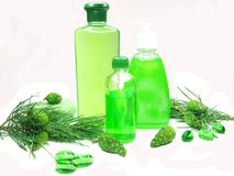 Shower gel bottle set with fir extract Royalty Free Stock Photography