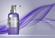 Shower Gel Bottle Template for Ads or Magazine Background.  Stock Image
