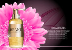 Shower Gel Bottle Template for Ads or Magazine Background.  Royalty Free Stock Image