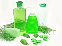Shower gel bottles with fir extract Stock Image