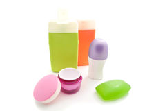 Shower gel and other toiletry. On white Royalty Free Stock Photo