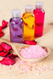 Shower gel, salt and petals Stock Photo