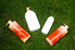 Shower gel and shampoo. Placed on the lawn of the shower gel and shampoo Royalty Free Stock Photos