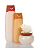 Shower gel, shampoo and cream jar with flower Royalty Free Stock Image