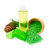 Shower gel and soap with cedar cones Royalty Free Stock Photo