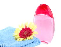 Shower gel, towel and gerbera, is isolated. Royalty Free Stock Photo