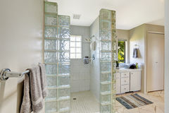 Shower with glass block trim Stock Photography