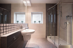 Shower with glass door. Contemporary bathroom with shower with glass door stock photos