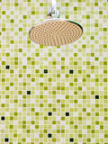 Shower. On green tile wall Royalty Free Stock Images