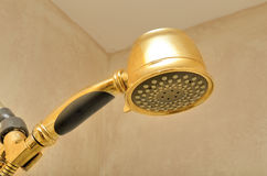Shower Head. A golden shower head in a shower royalty free stock image