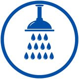 Shower head. Blue round icon with shower head Stock Photography