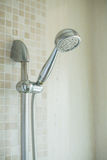 Shower head in bathroom stock images