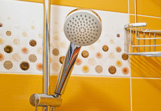 Shower head and decorative tiles Stock Photography