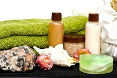 Shower hygiene cosmetics for spa. Set of spa cosmetics for shower and bath Stock Photography
