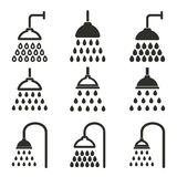 Shower icon set. Shower vector icons set. Black illustration isolated on white background for graphic and web design Royalty Free Illustration