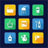Shower Icons Flat Design Royalty Free Stock Photos
