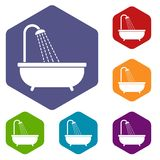 Shower icons set Stock Images