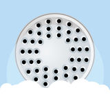 Shower and lather flat design. Vector illustration Stock Photos