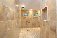 Shower with marble walls Stock Photos