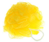 Shower puff. Yellow shower puff on a white background Stock Photo