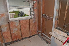 Shower Renovation - Demolition Stock Photos