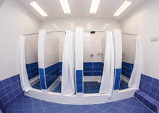 Shower room with cabins. In a gym fish-eye view stock images