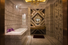 The shower room. The changing of family decoration to the hotel style, shown in the picture is a shower room of Chinese villa stock image